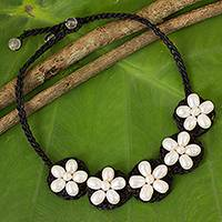 Cultured pearl and quartz flower necklace, 'Blossoming Rhyme' - White Pearl Flowers on Black Necklace Crocheted by Hand
