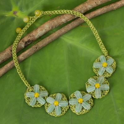 Beaded flower necklace, 'Blossoming Rhyme' - Artisan Crafted Crocheted Necklace with Green Quartz Flowers