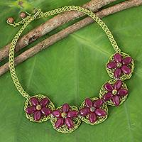 Beaded flower necklace, 'Pink Blossoming Rhyme' - Dark Pink Gemstone Flowers on Green Hand Crocheted Necklace