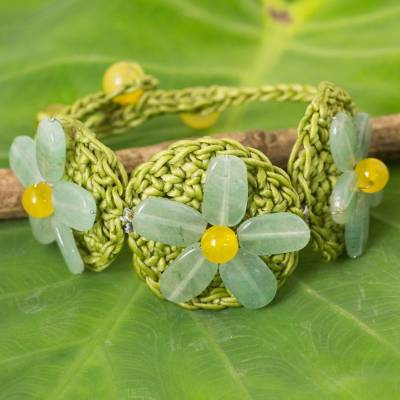 Beaded flower bracelet, 'Blossoming Rhyme' - Artisan Crafted Crocheted Bracelet with Green Quartz Flowers