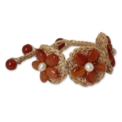 Hand Crocheted Flower Bracelet with Carnelians and Pearls