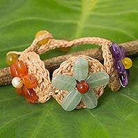 Multi gemstone flower bracelet, 'Blossoming Rhyme' - Multi Gemstone Flowers on Beige Hand Crocheted Bracelet
