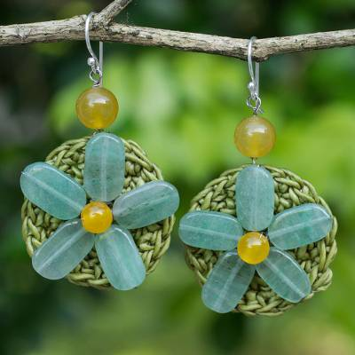 Beaded flower earrings, 'Blossoming Rhyme' - Artisan Crafted Crocheted Earrings with Green Quartz Flowers