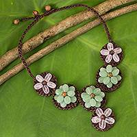 Rose quartz beaded flower necklace, 'Pastel Daisy' - Handcrafted Rose and Green Quartz Flower Necklace