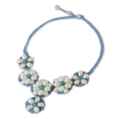 Cultured pearl beaded flower necklace, 'White Daisy' - Crocheted White Cultured Pearl Flower Necklace from Thailand