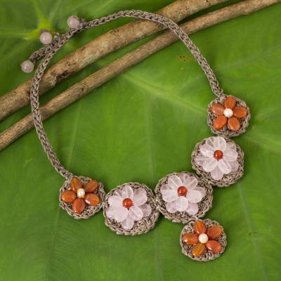 Rose quartz and carnelian beaded flower necklace, 'Pink Daisy' - Fair Trade Crocheted Necklace with Carnelian and Rose Quartz