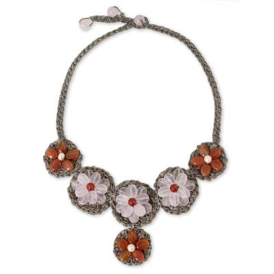 Fair Trade Crocheted Necklace with Carnelian and Rose Quartz