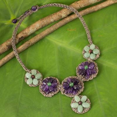 Amethyst and quartz beaded flower necklace, 'Purple Daisy' - Thai Green and Purple Flower Themed Gemstone Necklace