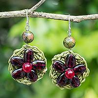 Garnet beaded flower earrings, 'Crimson Daisy' - Crocheted Flower Silver Hook Earrings with Garnets