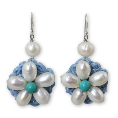 Flower Earrings with White Cultured Pearls and Blue Calcite