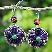 Amethyst beaded flower earrings, 'Purple Daisy' - Amethyst and Green Quartz Flower Earrings from Thai Artisan
