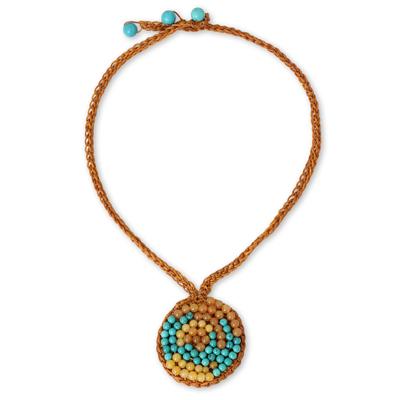 Orange Cord Necklace with Quartz and Calcite Beads