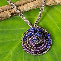 Lapis lazuli and amethyst beaded pendant necklace, 'Fascinate Me' - Spiral Pendant Necklace with Lapis Lazuli and Amethyst