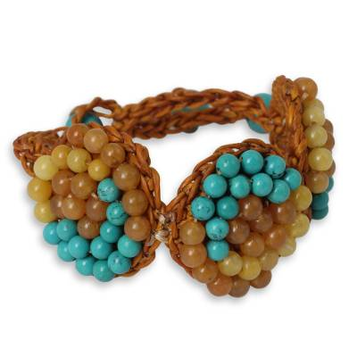Orange Cord Bracelet Beaded with Calcite and Quartz