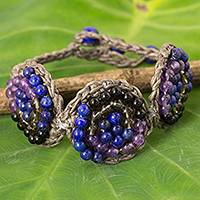 Amethyst and lapis lazuli  beaded bracelet, 'Fascinate Me' - Handmade Amethyst and Lapis Lazuli Crocheted Bracelet