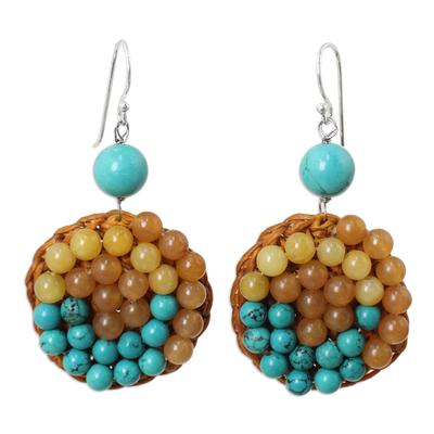 Quartz and Blue Calcite Beaded Crocheted Earrings