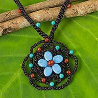 Carnelian and calcite beaded pendant necklace, 'Night Flower' - Thai Artisan Crafted Beaded Gemstone Flower Necklace