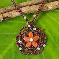 Carnelian beaded pendant necklace, 'Earth Flower' - Carnelian Flower Necklace on Hand Crocheted Cords