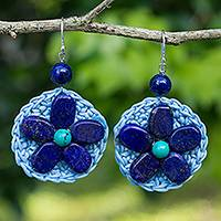 Lapis lazuli beaded dangle earrings, 'Ocean Flower' - Lapis Lazuli Flower Earrings on Crocheted Blue Cords