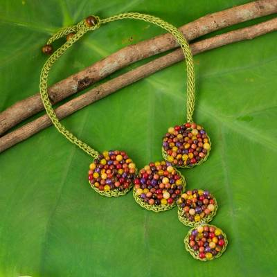Multi-gem beaded necklace, 'Green Jazz Combo' - Crocheted Green Necklace with Assorted Gemstones