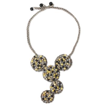 Fair Trade Artisan Necklace with Quartz, Onyx and Jasper