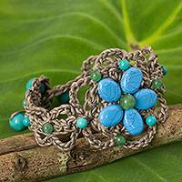 Beaded flower bracelet, 'Blossoming Blue Stargazer' - Turquoise-colored Gems on Hand Crocheted Thai Bracelet