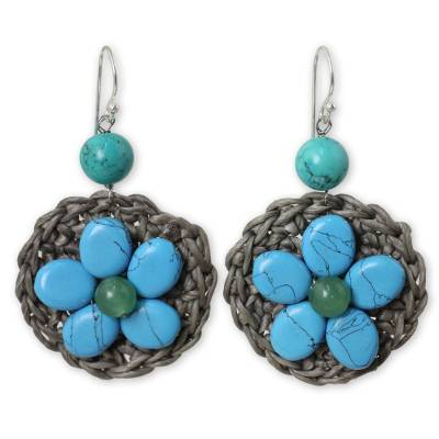 Beaded flower earrings, 'Blossoming Blue Stargazer' - Turquoise-colored Gems on Hand-crocheted Earrings