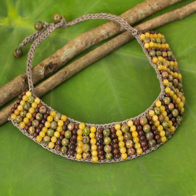 Unakite and jasper beaded necklace, 'Ethnic Parallels' - Artisan Crafted Multi Gem Beaded Choker Necklace