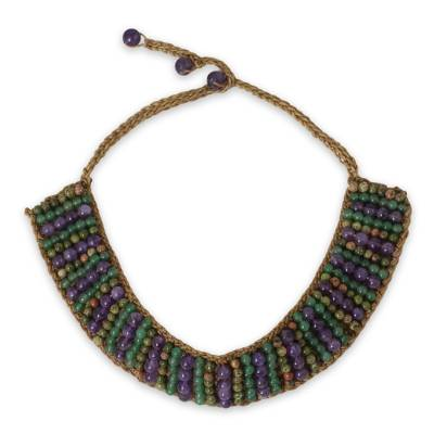 Crocheted Choker Necklace with Unakite, Amethyst and Quartz
