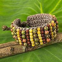 Unakite and jasper beaded bracelet, 'Ethnic Parallels' - Artisan Crafted Multi Gem Beaded Wristband Bracelet