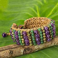 Unakite and amethyst beaded bracelet, 'Ethnic Parallels' - Crocheted Bracelet with Unakite, Amethyst and Quartz