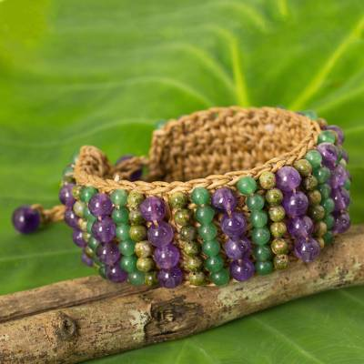 Unakite and amethyst beaded bracelet, Ethnic Parallels