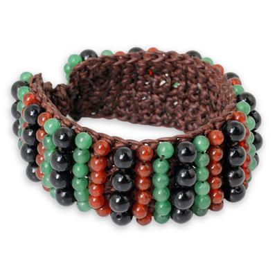Carnelian and Onyx Handmade Boho Wristband Bracelet