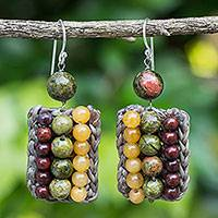 Unakite and jasper beaded earrings, 'Ethnic Parallels' - Crocheted Earrings with Unakite, Jasper and Quartz