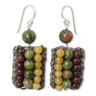 Crocheted Earrings with Unakite, Jasper and Quartz