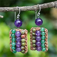 Unakite and amethyst beaded earrings, 'Ethnic Parallels' - Crocheted Earrings with Unakite, Amethyst and Quartz