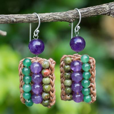 Unakite and amethyst beaded earrings, Ethnic Parallels