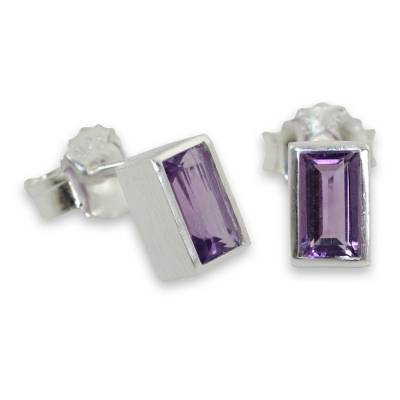 Classic Stud Earrings with Amethyst and Sterling 925 Silver