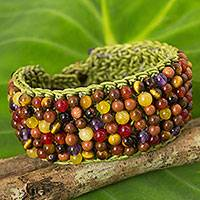 Multi-gem beaded bracelet, 'Green Jazz Combo' - Quartz Carnelian Tiger's Eye Hand Crochet Wristband Bracelet