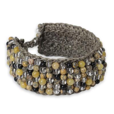 Quartz Jasper Onyx Hand Crochet Wristband Bracelet