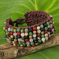 Multi-gem beaded bracelet, 'Jazz Combo' - Quartz Onyx Unakite Hand Crochet Wristband Bracelet