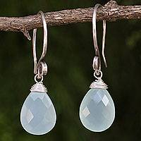 Chalcedony dangle earrings, 'Subtle'