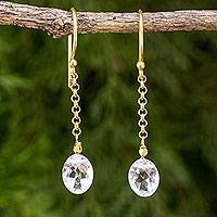 Gold vermeil quartz dangle earrings, 'Rising Star' - Thai Handcrafted 24k Gold Vermeil Crystal Quartz Earrings