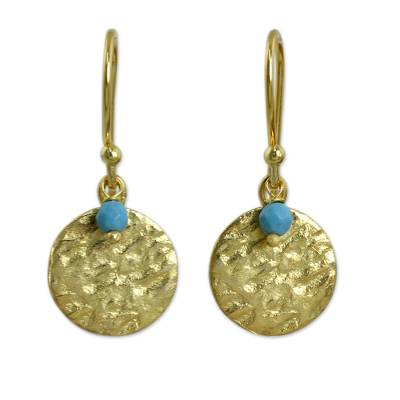 Artisan Crafted 24k Gold Plated Calcite Earrings Thailand