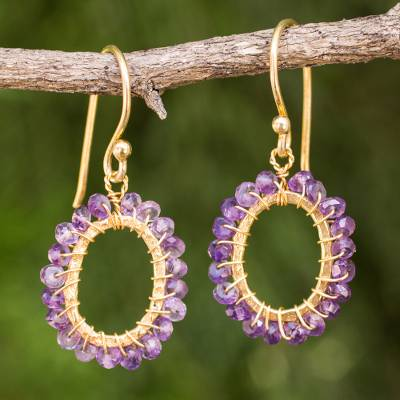 Gold plated amethyst dangle earrings, 'Treasure' - 24k Gold Plated Hand Knotted Amethyst Earrings from Thailand