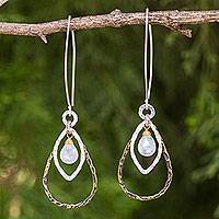 Gold plated rainbow moonstone dangle earrings, 'Cordial Teardrop' - Fair Trade 24k Gold Plated Moonstone Earrings with Silver