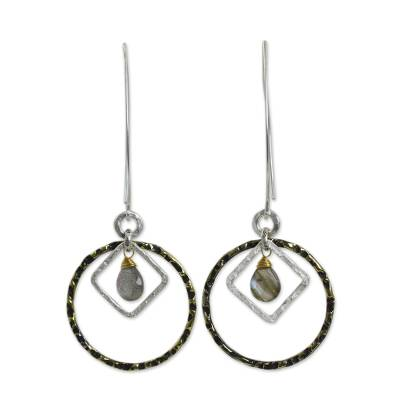Fair Trade 24k Gold Plated Labradorite Earrings with Silver