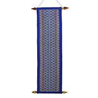 Cotton wall hanging, 'Blue Orchid' - Long Blue Cotton Wall Hanging Handcrafted in Thailand