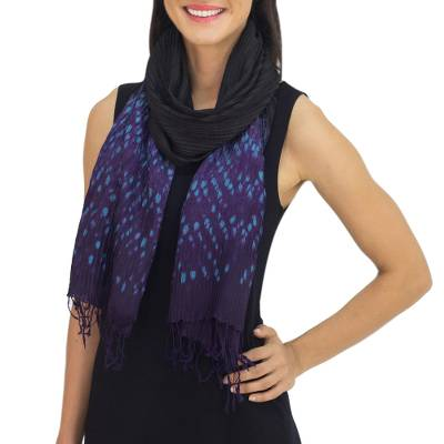 Tie-dyed scarf, 'Black Purple Kaleidoscopic' - Black Tie Dyed Pin Tuck Scarf with Purple and Blue