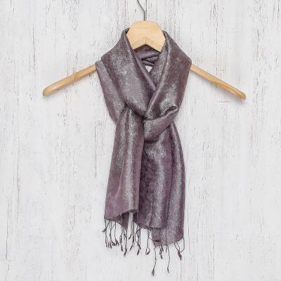 Rayon and silk blend scarf, Grey Purple Bouquet